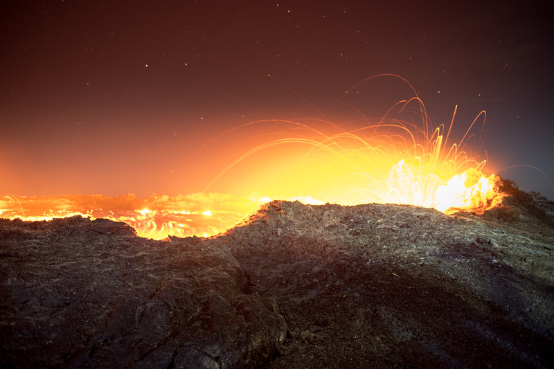 Midnight at the Erta Ale volcano