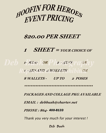 PRICING INFORMATION FOR  HOOFIN PHOTO'S