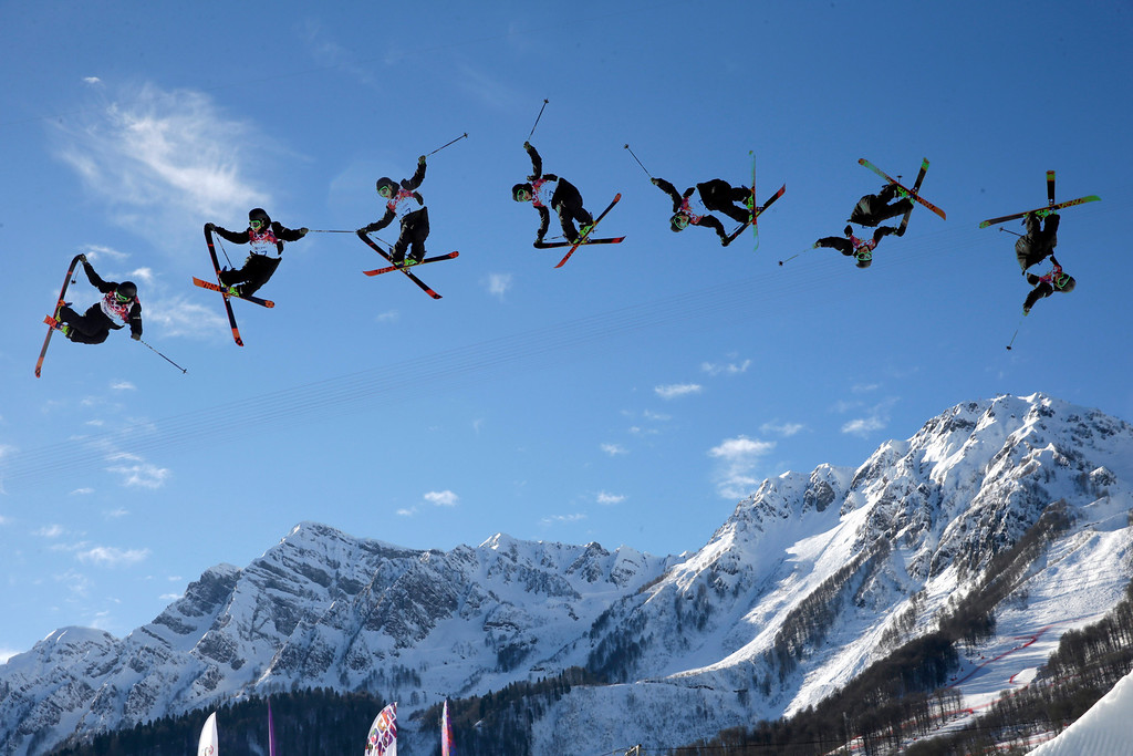 . In this image made with a multiple exposure, Finland\'s Antti Ollila competes in the men\'s ski slopestyle qualifying at the Rosa Khutor Extreme Park during the 2014 Winter Olympics, Thursday, Feb. 13, 2014, in Krasnaya Polyana, Russia. (AP Photo/Gero Breloer)