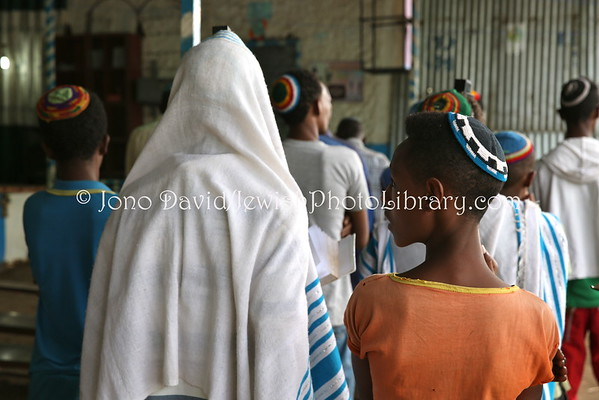 ETHIOPIA, Gondar. Hatikvah Jewish Community service (and synagogue) (3.2015)