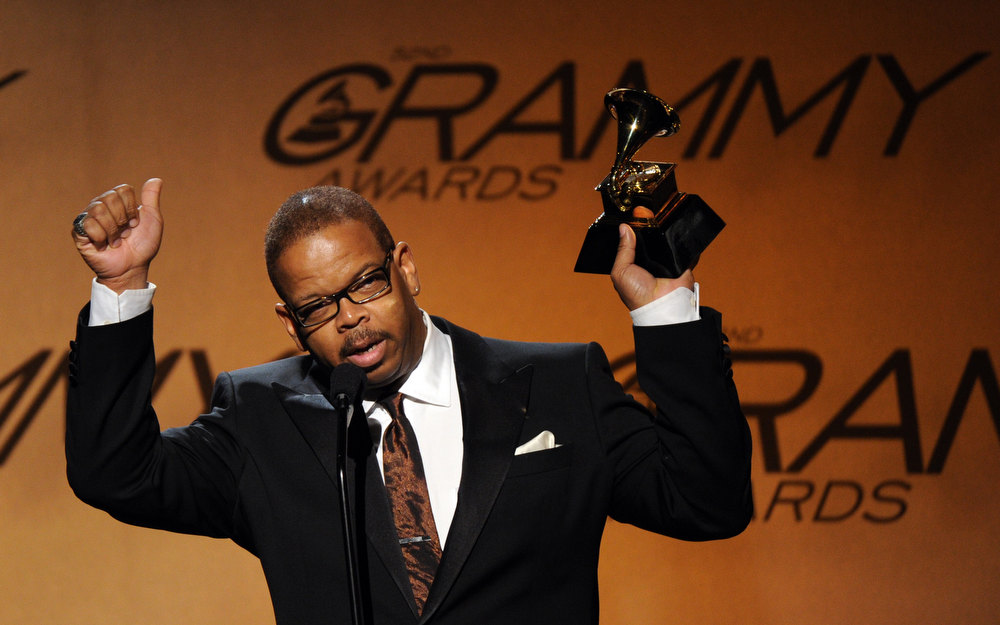 Description of . Terence Blanchard celebrates after winning the Best Improvised Jazz Solo award for Dancin\' 4 Chicken during the Pre-Telecast award presentations at the 52nd Grammy Awards in Los Angeles on January 31, 2010. ROBYN BECK/AFP/Getty Images