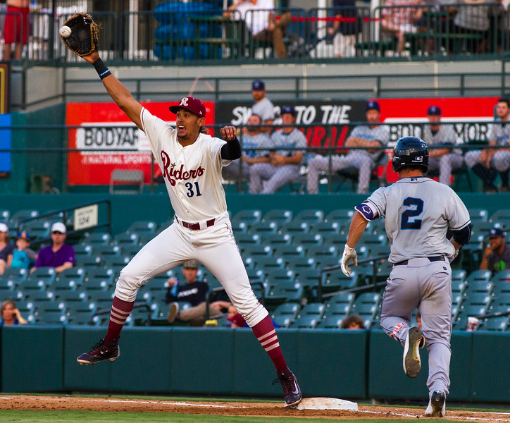 Corpus Christi Hooks' Alex Bregman (2) grounds out in an MiLB game against the Frisco RoughRiders at Dr. Pepper Ballpark in Frisco, Texas, Thursday, June 23, 2016. Ronald Guzman (31) covering first base. (Photo by Sam Hodde)