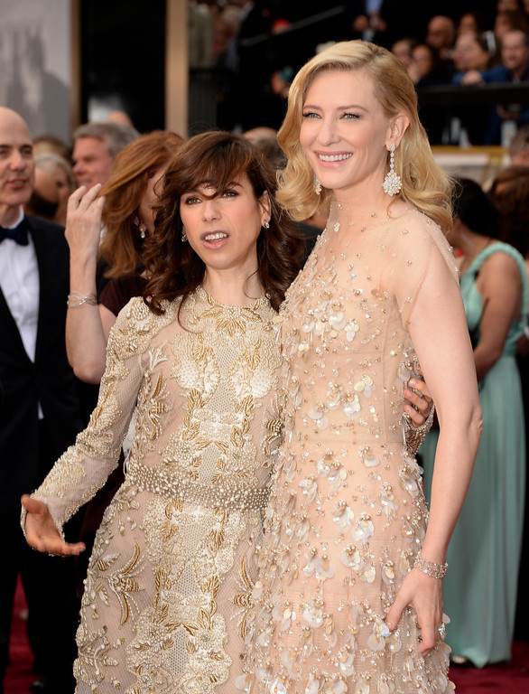 . Actresses Sally Hawkins (L) and Cate Blanchett attend the Oscars held at Hollywood & Highland Center on March 2, 2014 in Hollywood, California.  (Photo by Jason Merritt/Getty Images)