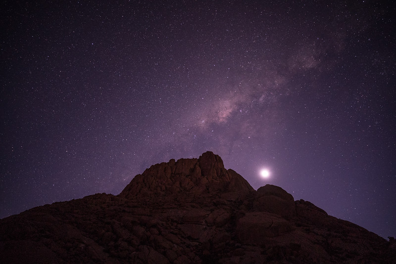 Moonset and Skitzkoppe Peak