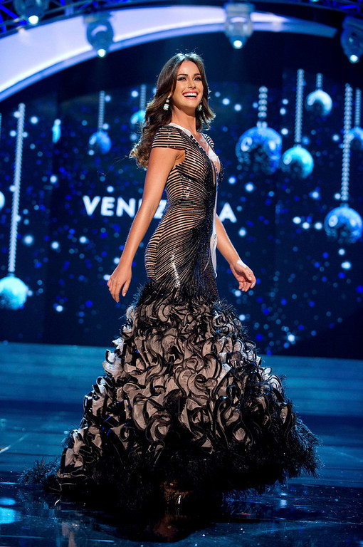 . Miss Venezuela Irene Sofia Esser Quintero competes in an evening gown of her choice during the Evening Gown Competition of the 2012 Miss Universe Presentation Show at PH Live in Las Vegas, Nevada December 13, 2012. The 89 Miss Universe Contestants will compete for the Diamond Nexus Crown on December 19, 2012. REUTERS/Darren Decker/Miss Universe Organization/Handout