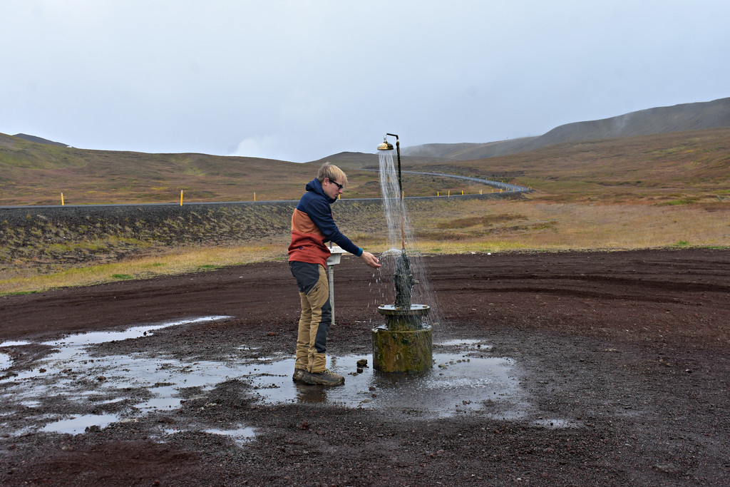 Functional shower along the side of the road East of Myvatn Lake in Iceland
