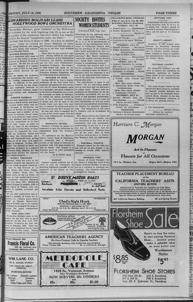 Southern California Trojan, Vol. 9, No. 6, July 18, 1930