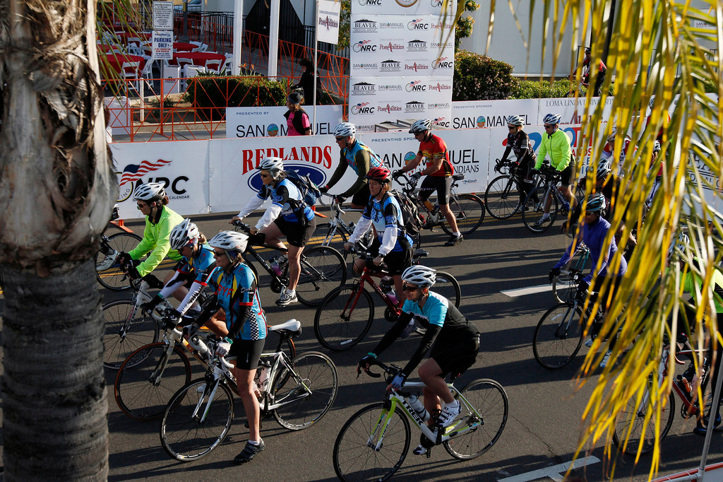 . Participants of the R.U.F.F. Ride head east on Citrus Avenue during the Redlands Bicycle Classic on Saturday, April 5, 2014 in Redlands, Ca. (Photo by Micah Escamilla for the Redlands Daily Facts)