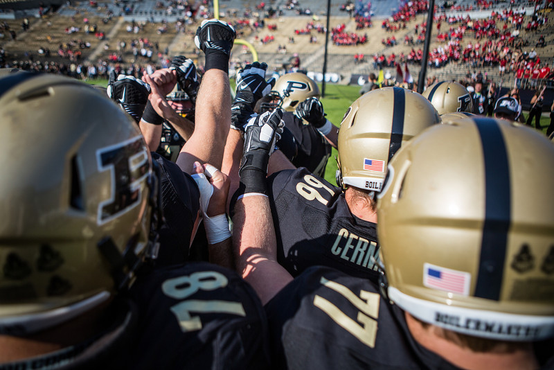 The Purdue lineman huddle prior to the Big Ten Conference game between the Purdue Boilermakers and the Nebraska Cornhuskers on October 12, 2013