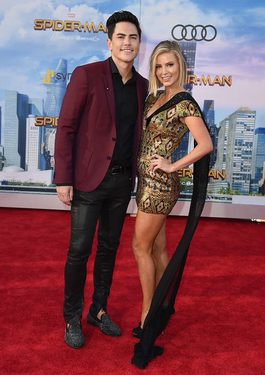 """. Tom Sandoval, left, and Ariana Madix arrive at the Los Angeles premiere of \""""Spider-Man: Homecoming\"""" at the TCL Chinese Theatre on Wednesday, June 28, 2017. (Photo by Jordan Strauss/Invision/AP)"""
