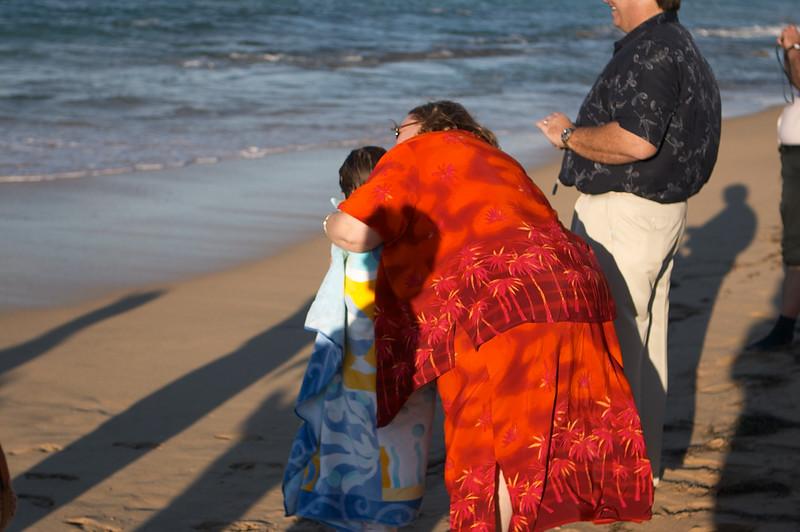 Mami waits with a towel and a hug