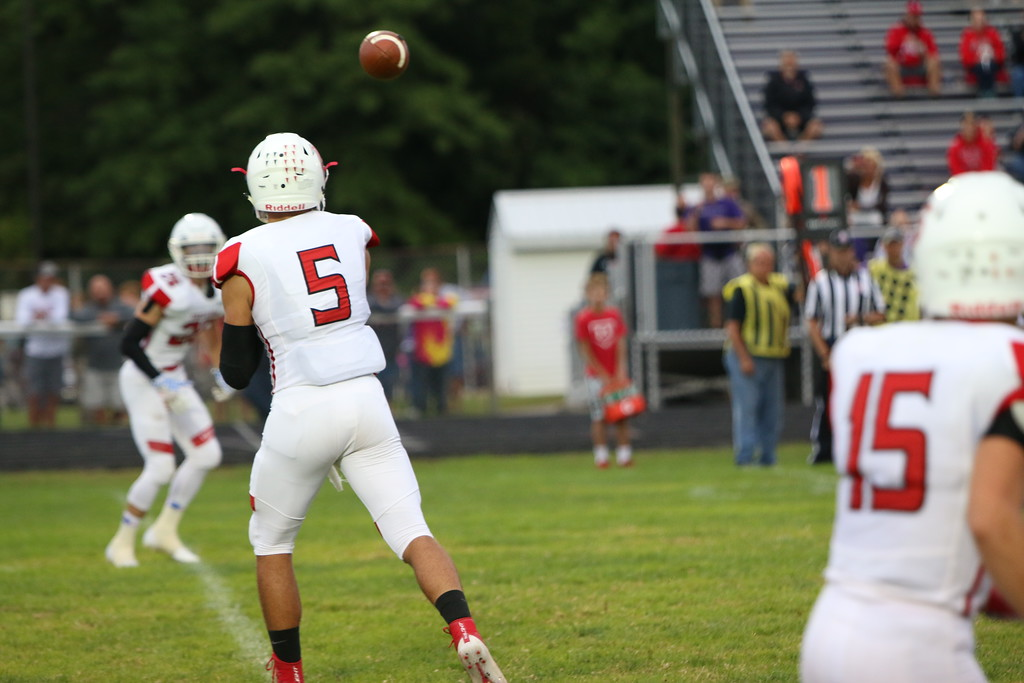 . Kyle Sooy - The Morning Journal<br> Firelands quarterback Blake Ruffner throws a screen against Vermilion on Sept. 7.