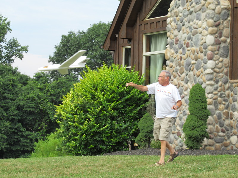 Dad flying the airplane.
