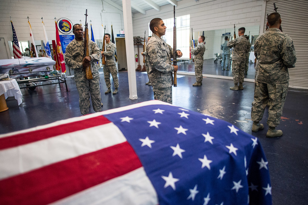 . Members of the Blue Eagles Honor Guard practice with their training rifle at March Air Reserve Base in Riverside, Calif. on Tuesday, May 12, 2015. The new trainees must complete three weeks of technical training before they are qualified to participate in the Honor Guard�s mission.(Photo by Watchara Phomicinda/ Los Angeles Daily News)
