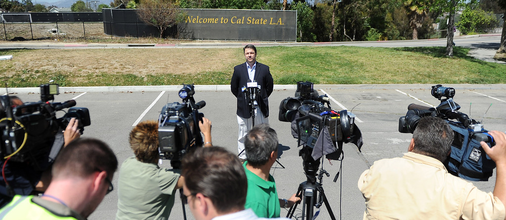 . Paul Browning, Direcotor of Media Relations speaks about a bomb threat that closed the campus of Cal State Los Angeles on Thursday, April 18, 2012 in Los Angeles, Calif.    (Keith Birmingham/Pasadena Star-News)