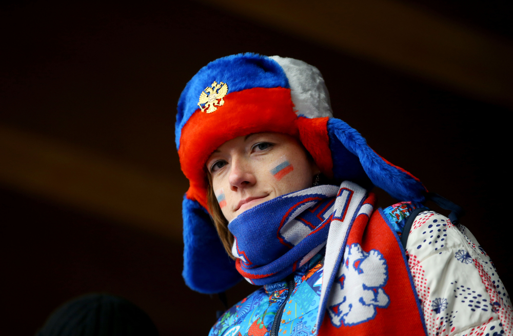 . A Russian fan attends the Luge Relay on Day 6 of the Sochi 2014 Winter Olympics at Sliding Center Sanki on February 13, 2014 in Sochi, Russia.  (Photo by Doug Pensinger/Getty Images)
