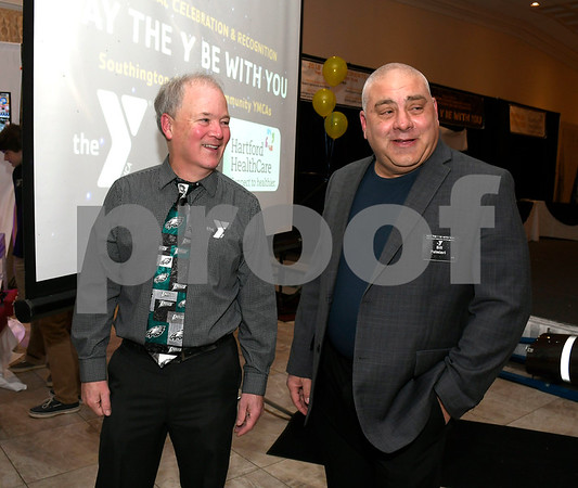 2/6/2018 Mike Orazzi | Staff John Myers talks Bill Palmieri during the Southington YMCA's 89th Annual Meeting &quote;May the Y Be With You&quote; held at the Aqua Turf Club in Southington Tuesday night.