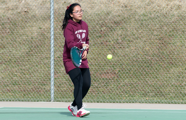 04/02/19 Wesley Bunnell | Staff New Britain girls tennis took on Wilcox Tech in their first matches of the season on Tuesday afternoon. Jenny Ketheorasmy.
