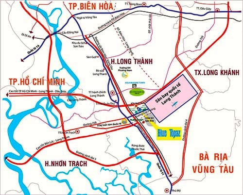 Map of Long Thanh international Airport in Dong Nai Province