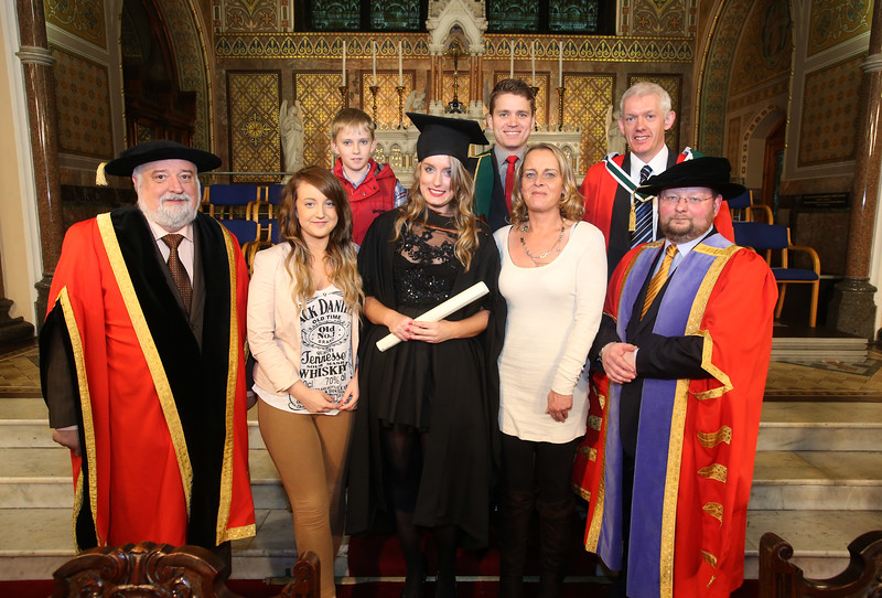 Pictured is Cassandra Kelly, Wexford who graduated Bachelor of Arts (Hons) in Psychology. Also pictured are Jack Walsh, Deputy Chairperson Govering body,  Dr Richard Hayes, Dr. Derek O'Byrne, Registrar of Waterford Institute of Technology (WIT), Julianne, Shannon, Carol and Oisin Kelly. Picture: Patrick Browne.