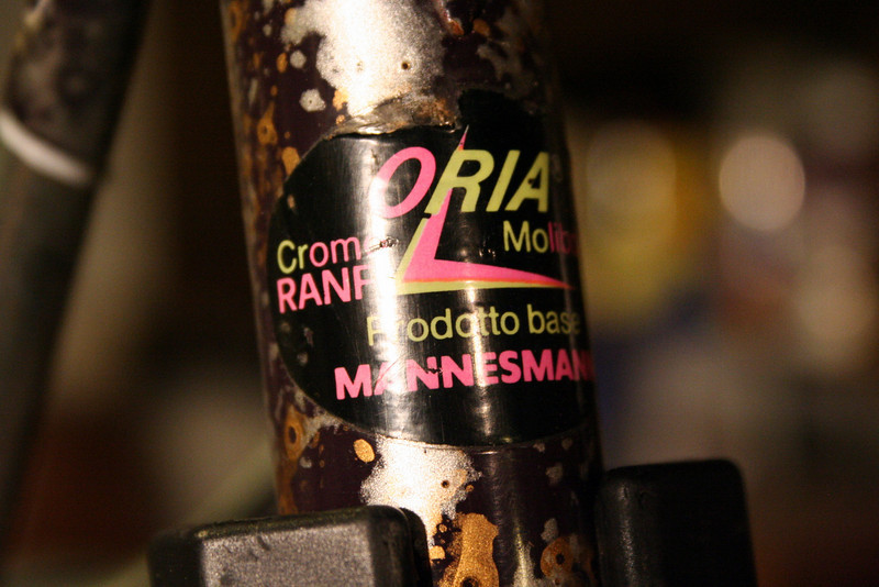 Oria RANF Cr-Mo, which has vertical (not helical) reinforcing ridges in the chain stays, down tube, steer tube and seat tube (in which the ridges run the whole way, à la Columbus TSX).