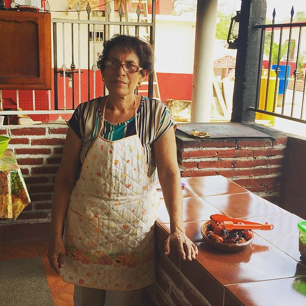 Salsa-making lesson at Doña Rosa's kitchen in the small town of Puerta de Canoas, Mexico.