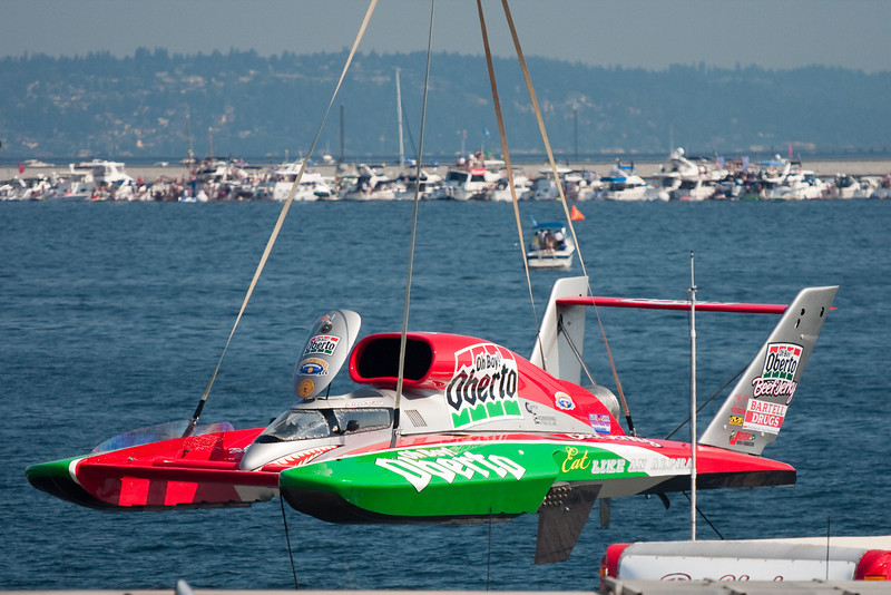 The Oh Boy! Oberto boat is lifted off its trailer and into the water to prep for one of the Unlimited series heats Sunday morning at the Chevrolet Cup at Seafair 2009