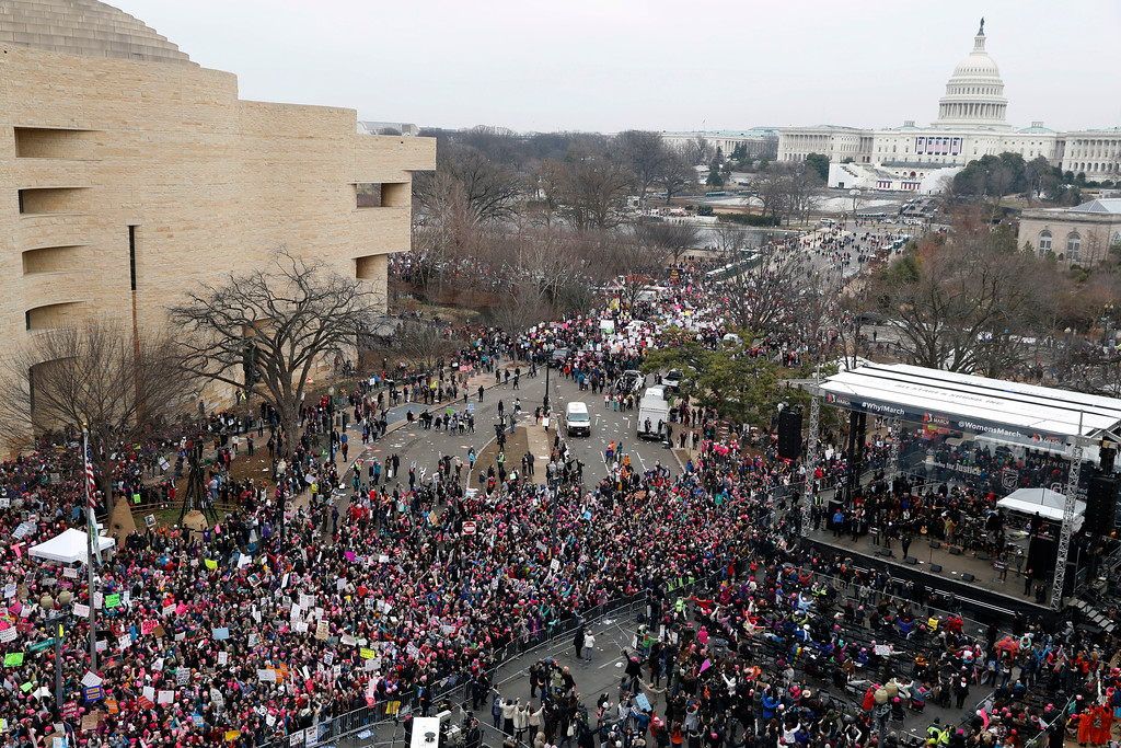 . A crowd fills Independence Avenue looking towards the U.S. Capitol and the stage, lower right, during the Women\'s March on Washington, Saturday, Jan. 21, 2017 in Washington. (AP Photo/Alex Brandon)