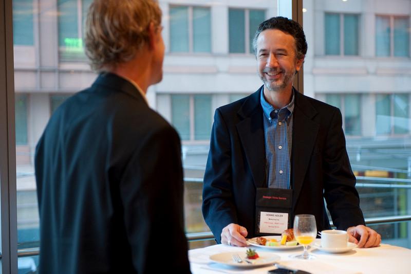 Tom Wesselman (L), Senior Manager, CTO Unified Communications, Cisco; and Dennis Adler, CTO of MetaJure Inc.