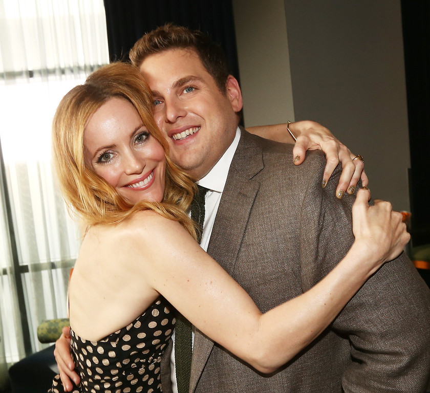 . Actress Leslie Mann (L) and actor Jonah Hill attend the 2014 MTV Movie Awards at Nokia Theatre L.A. Live on April 13, 2014 in Los Angeles, California.  (Photo by Christopher Polk/Getty Images)