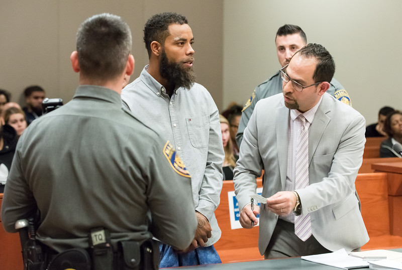 12/03/18  Wesley Bunnell | Staff  Vincent Slaughter was arraigned in New Britain Superior Court on Monday afternoon in front of Judge Joan Alexander on several charges including Assault 1 and Criminal Weapon Possession. Slaughter is shown with his Defense Attorney Chester Fernandez, R.