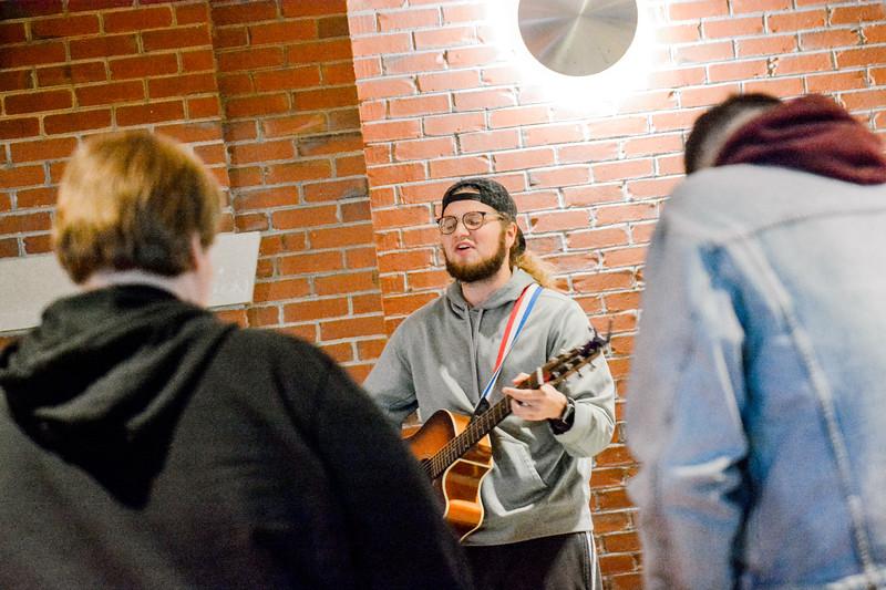 Students worshiping