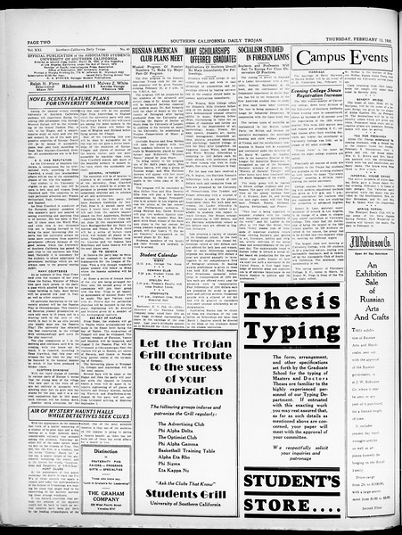 Southern California Daily Trojan, Vol. 21, No. 81, February 13, 1930