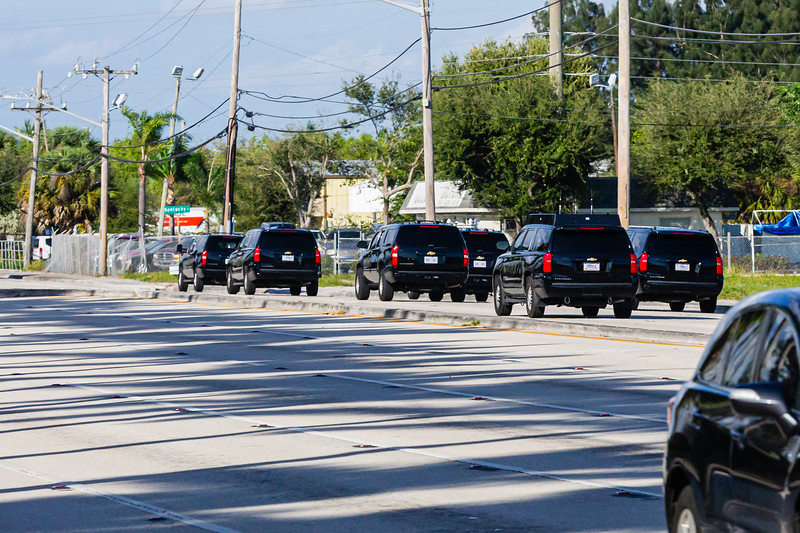 President Donald J. Trump's motorcade heads north on Congress Ave., on its way to Mar-a-Lago after leaving Trump International Golf Club in West Palm Beach on Saturday, January 04, 2020. [JOSEPH FORZANO/palmbeachpost.com]