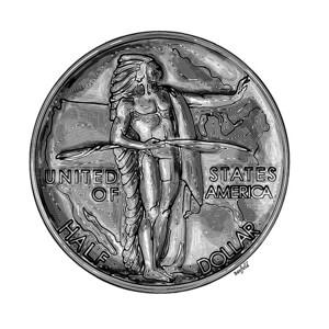 """Oregon Trail half dollar (""""Indian side"""")"""