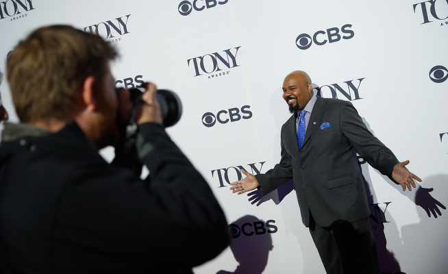 ". Actor James Monroe Iglehart, nominee for Best Performance by an Actor in a Featured Role in a Musical for ""Aladdin,\"" attends the 2014 Tony Awards Meet The Nominees Press Reception at the Paramount Hotel on April 30, 2014 in New York City.  (Photo by Jemal Countess/Getty Images for Tony Awards Productions)"