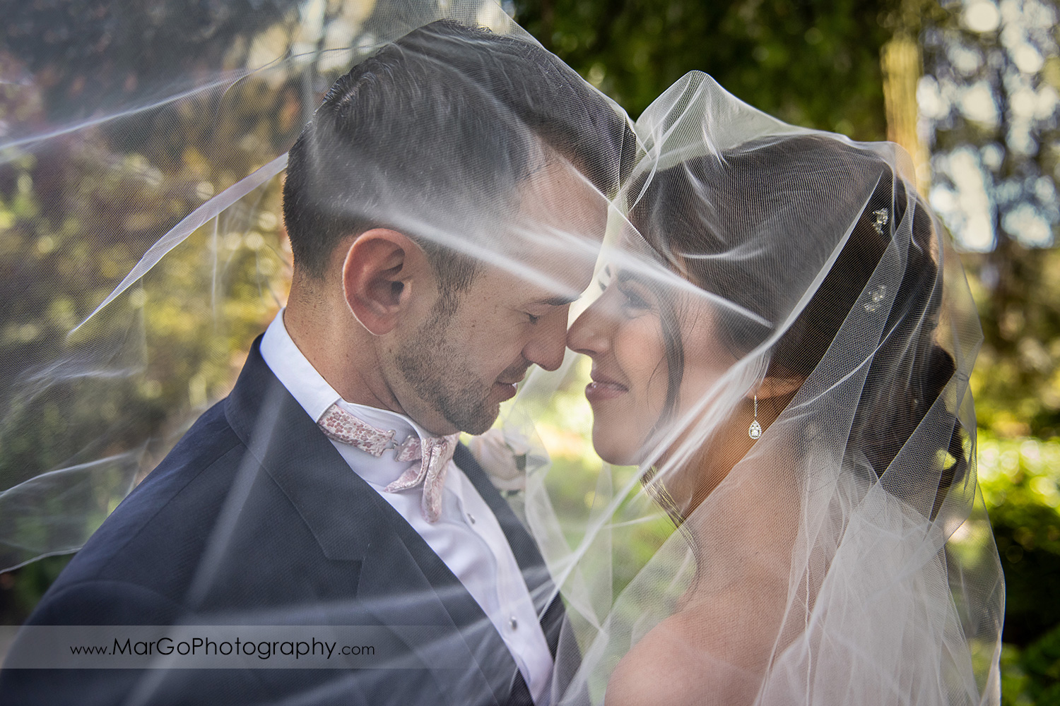portrait of bride and groom under the veil at Piedmont Park
