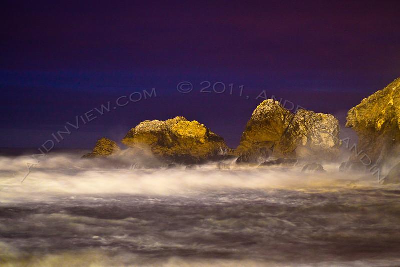 Mori point rocks at night #2