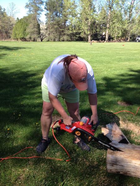 Chain saw practice. Good job Tig.