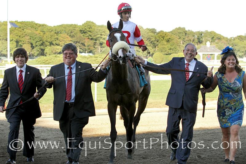 Stephanie's Kitten (Kitten's Joy) and jockey John Velazquez win the Flower Bowl (Gr I) at Belmont Park 9/27/14. Trainer: Chad Brown. Owner: Ken & Sarah Ramsey