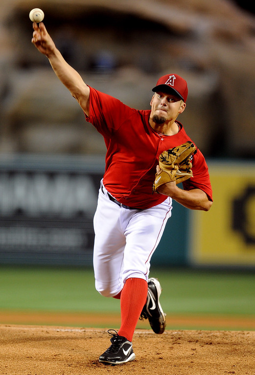 . Los Angeles Angels starting pitcher Joe Blanton throws to the plate in the first inning of a spring baseball game against the Los Angeles Dodgers on Thursday, March 28, 2012 in Anaheim, Calif.   (Keith Birmingham/Pasadena Star-News)