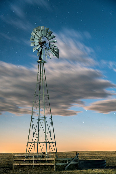 Pawnee Windmill at Night