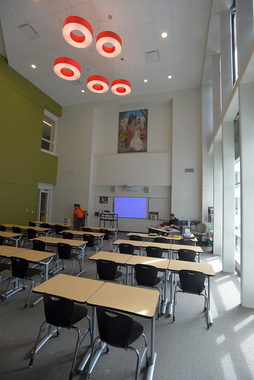 . A new classroom is ready for students at Lawndale High in Lawndale, CA on Tuesday, August 19, 2014. Lawndale and Leuzinger high schools begin Wednesday and students will be working in new buildings that were constructed with bond money. (Photo by Scott Varley, Daily Breeze)