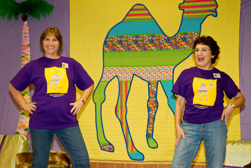 Chris and Stathie and their camel creation at March Madness 2012.