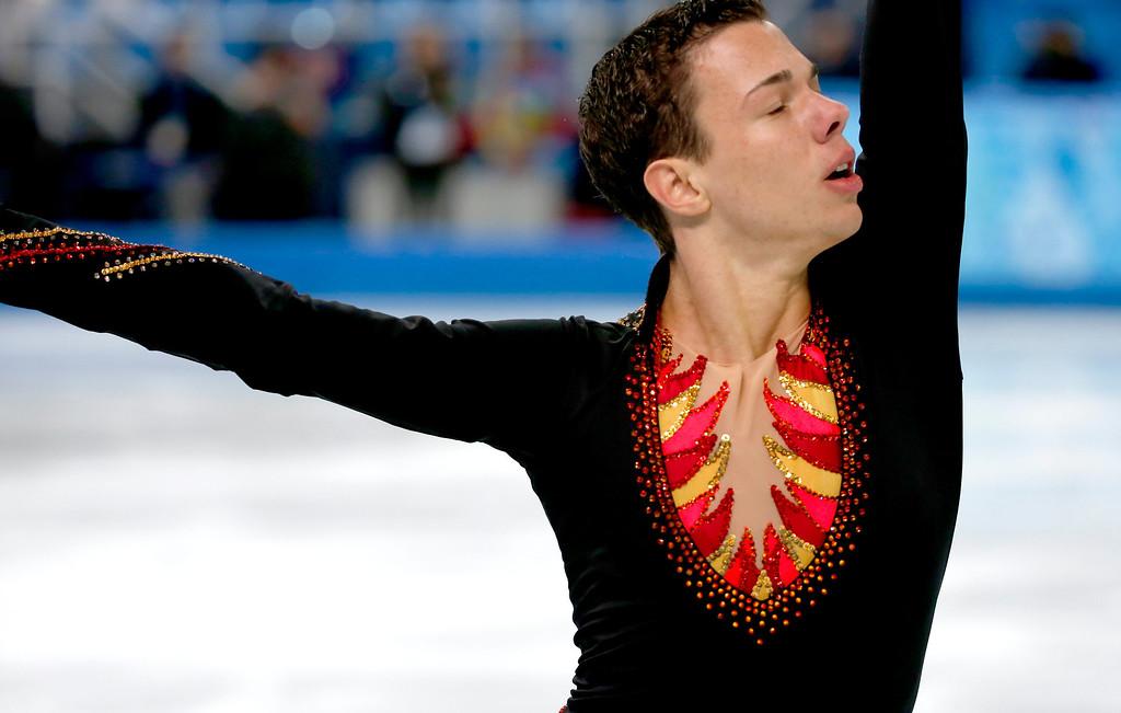 . Jorik Hendrickx of Belgium performs during the Men\'s Short Program of the Figure Skating event at the Iceberg Palace during the Sochi 2014 Olympic Games, Sochi, Russia, 13 February 2014.  EPA/BARBARA WALTON