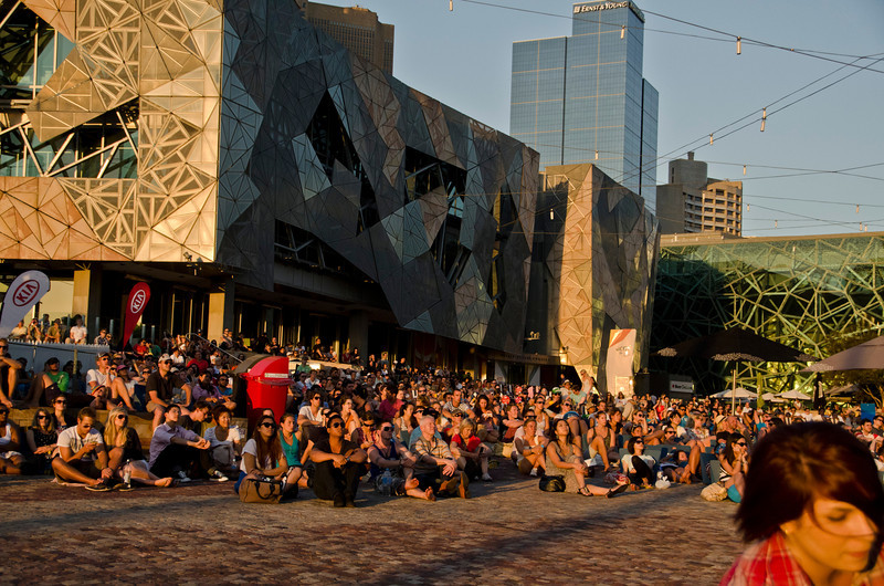 Federation Square - watching tennis