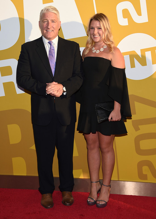. John King, left, and his daughter Hannah King arrive at the NBA Awards at Basketball City at Pier 36 on Monday, June 26, 2017, in New York. (Photo by Evan Agostini/Invision/AP)