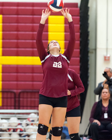 09/25/18 Wesley Bunnell | Staff New Britain girls volleyball was defeated by Simsbury on Tuesday night at New Britain High School. Audrey Belliveau (22).