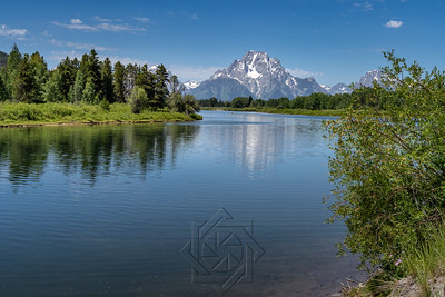View of Mount Moran on a summer day