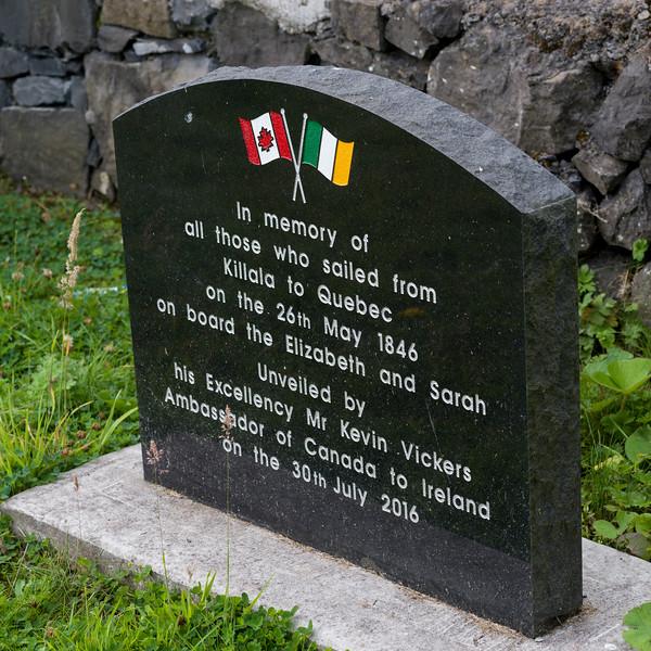 Close-up of tombstone at memorial, Killala Town, Killala, County Mayo, Republic of Ireland